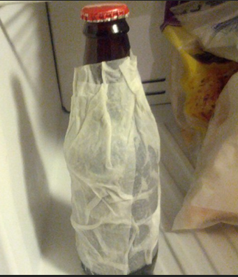 freezing beer bottle in freezer