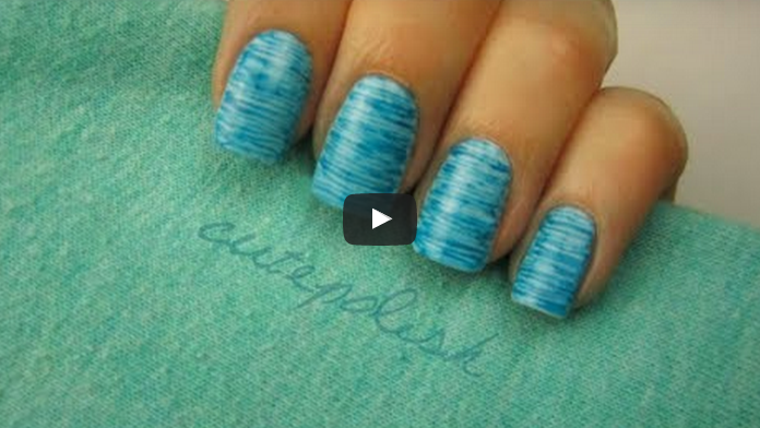 Striped Nail Art using FLOSS